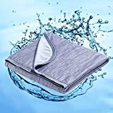 Marchpower Cooling Cotton Blanket, Latest Cool-to-Touch Technology Lightweight Cool Breathable Blanket for Night Sweats Hot Sleeper Summer Cool Fall Blankets Couch Sofa Bed(Blue, Twin, 79 x 59 inches)