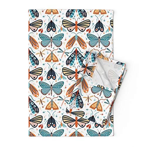 Roostery Tea Towels, Pollinators Butterfly Blue Butterflies Moth Bugs Seeds Pollen Color Girly Print, Linen Cotton Tea Towels, Set of 2