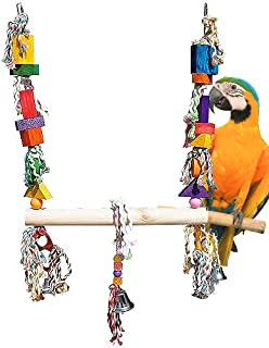 Bonka Bird Toys 1666 Massive Swing Parrot Toy cage Perch Cages African Grey Amazon Macaw Birds Aviary Stand Supplies Extra Swings Natural Hanging Ropes