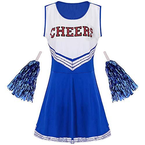 Sakurio Damen Cheerleader Outfit American Musical Sport High School Halloween Cheer Girl Kostüm mit Pom Poms