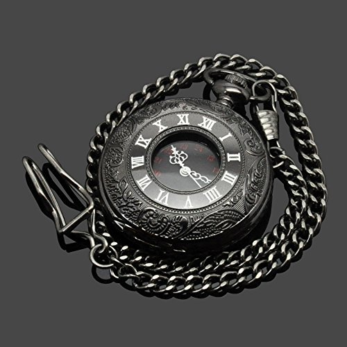 SwitchMe Vintage Pocket Watch Classic Roman Numerals Men Women Pocket Watch with Belt Clip Chain Black