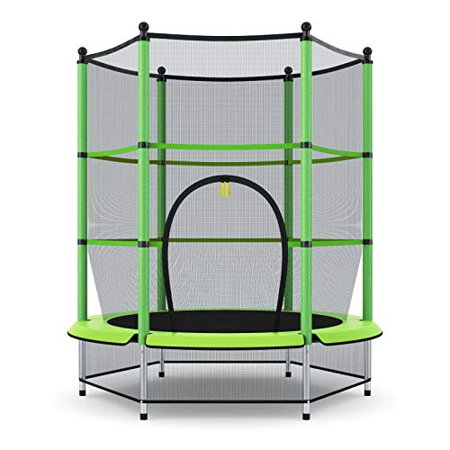 """Giantex 55"""" Round Kids Mini Jumping Trampoline W/ Safety Pad Enclosure Combo (Green)"""