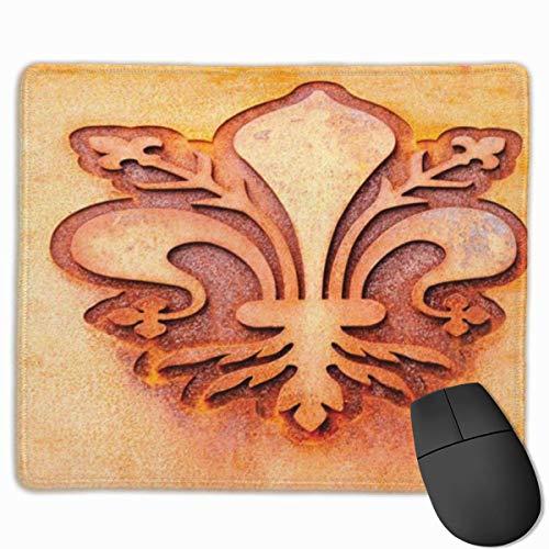 Muiskussen, Mousepad, Fleur De Lis Lelie Bloem Op Plaat Bloemenontwerp Koninklijke Armen Frankrijk Teken Culturele Print Oranje Vermilion