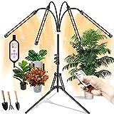 Pflanzenlampe LED mit Ständer, Wachstumslampe Tripod Einstellbar, Pflanzenlampen, semai 80W Pflanzenleuchte Vollspektrum, Grow Lampe, Plants Light mit 3 Beleuchtungsmodi, Timerfunktion, 10 Dimmstufen.