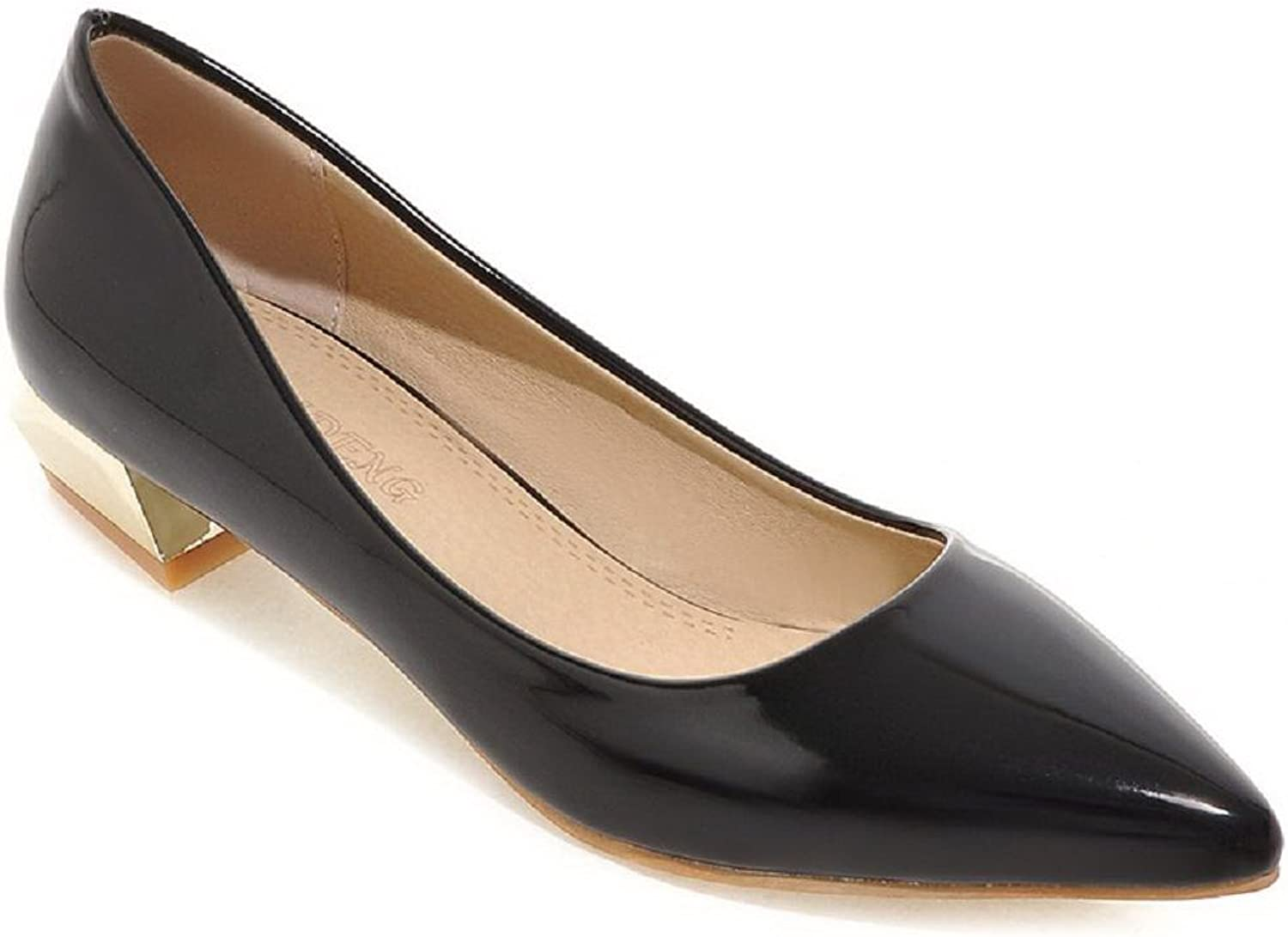WeenFashion Women's Pull On Pointed Closed Toe Low Heels Pu Solid Pumps-shoes