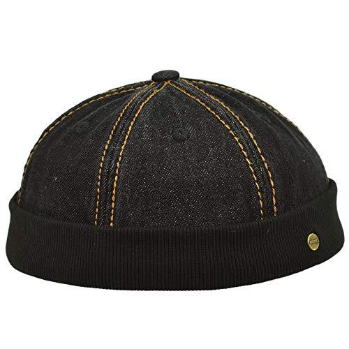 Lakota Docker-Mütze | Mütze aus Reiner Baumwolle | steingewaschener Look | eine Größe verstellbar | Sommer/Winter (schwarz)