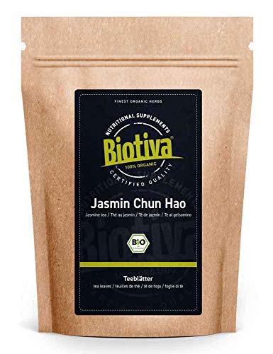 Té de jazmín orgánico 100 g - calidad superior china - precio supremo - hoja verde oscuro, muy intercalada con brotes de hojas blancas - DE-ÖKO-005