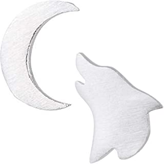 Wolf Moon Stud Earrings: Wolf Crescent Moons Earring Set, Unique Accessories for Women