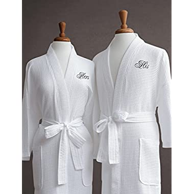 Luxor Linens Waffle Weave Spa Bathrobe - Ciragan Collection - Luxurious, Super Soft, Plush & Lightweight - 100% Egyptian Cotton, Made in Turkey (His/ Hers, with Gift Packaging)