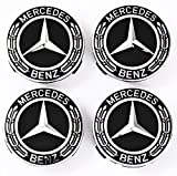 UG Lot de 4 enjoliveurs pour Mercedes 75 mm chromé/Noir/Argent Classe A B C CL E G GL M S SL et Autres – Remplacement pour Jantes de vélo