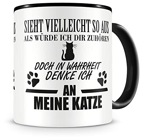 Samunshi® Katze Tasse mit Spruch Geschenk für Mann Frau Oma oder Opa Kaffeetasse groß Lustige Tassen zum Geburtstag schwarz 300ml
