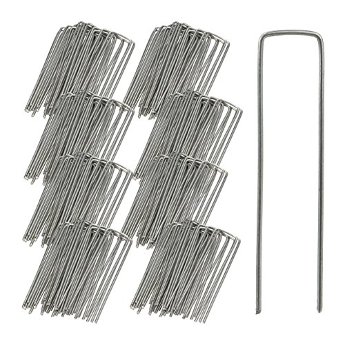 Relaxdays Bodenanker, 25er Set, Rostbeständig, Angeschrägte Enden, Zum Einschlagen, 15cm lang, Verzinkter Stahl, Silber
