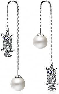 megko Owl Dangle Earrings Pearl Threader 925 Sterling Silver Chain Tassel Earrings 4.8 Inches