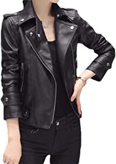 Mogogo Womens Short Mini Jacket Coat Moto Long-Sleeve Leather Trench Coat