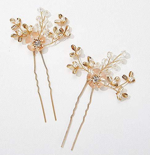 SWEETV Set of 2 Bridal Hair Pins Rhinestone Wedding Hair