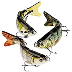 6 SEGMENT LIFELIKE LURES---Designed with 8 segment multi-jointed body, this fishing lure kit can sink slowly and moves flexible in water. Besides, life-like swimming actions make it attracting more catches and provoking predator fish to strike. ARTIF...