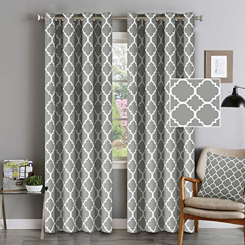 """Flamingo P Blackout Curtains Moroccan Tile Print Curtains 96 inch Length Thermal Insulated Kitchen Window Treatment Set for Living Room - 52"""" x 96"""" inch - (Dove Gray, Set of 2 Panels)"""