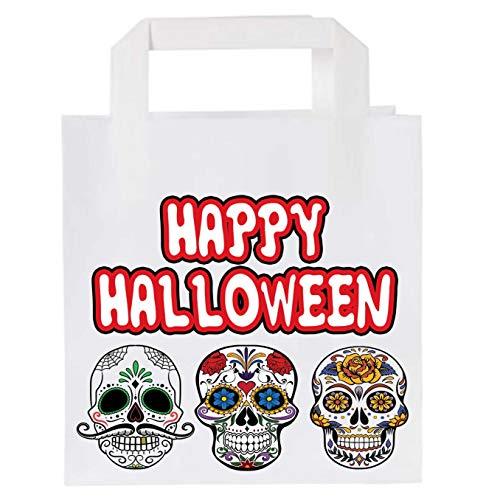 Bolsas de papel para fiesta de Halloween (10 unidades), diseo de calavera de azcar