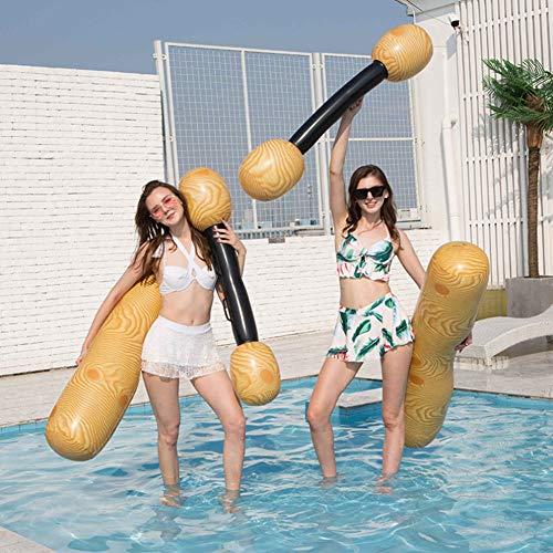 Gcroet Aufblasbare Schwimmende Reihe Spielzeug Aufblasbare Log Flume Turnier Set Erwachsene Kinder Pool Party Wassersport Spiele Komfortable Armlehne Design für Sommer Pool Partys 4Pcs