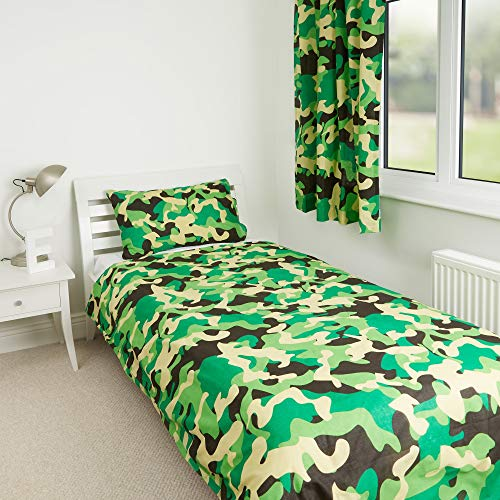 Zappi Co Green Camo Camouflage Kids Boys Girls Bedroom Duvet Cover Bedding Range (Toddler Duvet Cover)