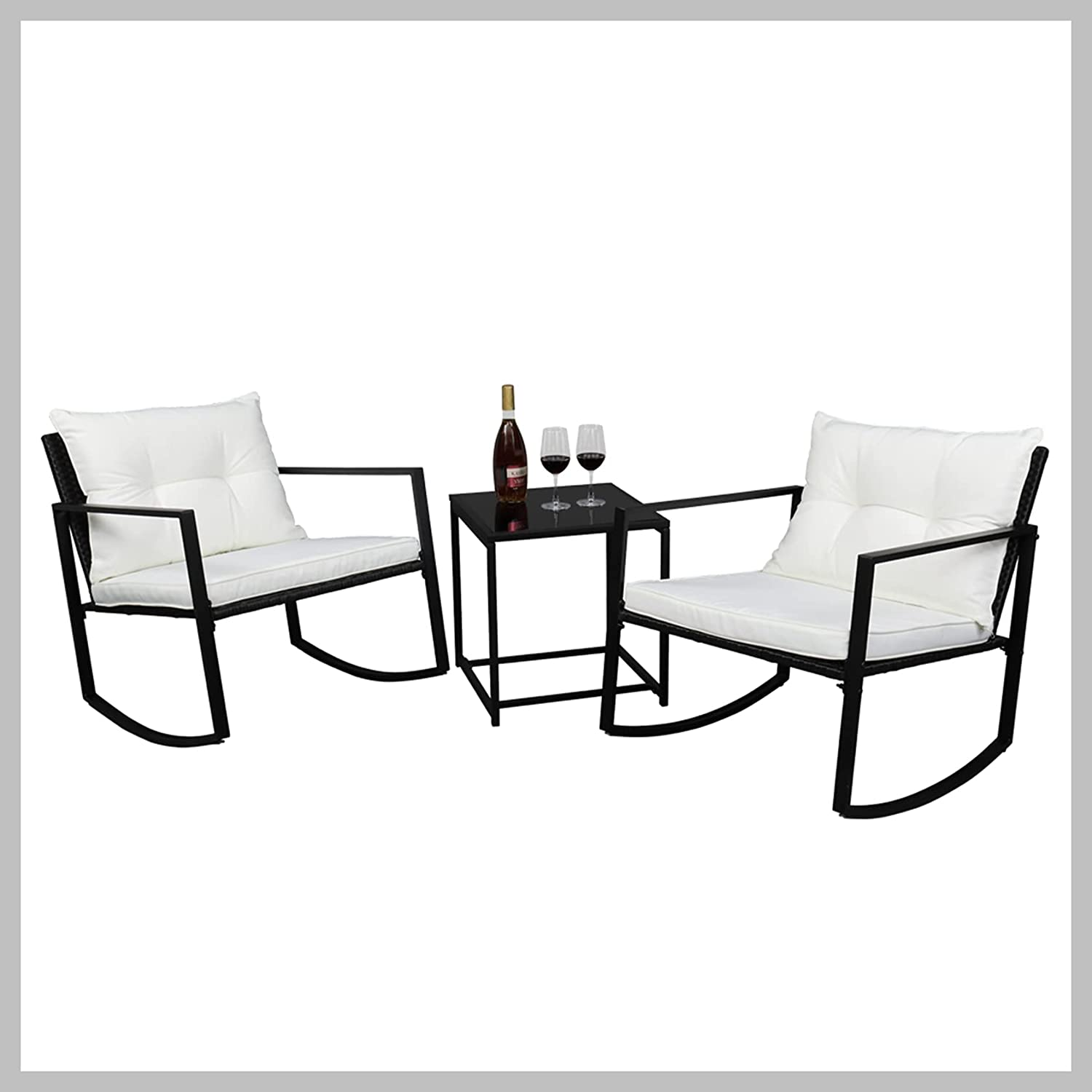 Credence Single Direct sale of manufacturer 2pcs Coffee Table 1pc Rocking Exposed Chair Three-Piece S