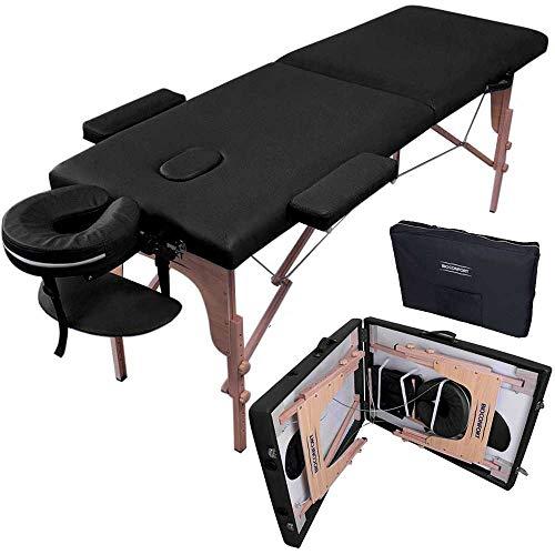 Nanofort Cama masaje 180X60cm Plegable Portatil fisioterapia Faciales Tatuaje Ligera SPA (Negro)