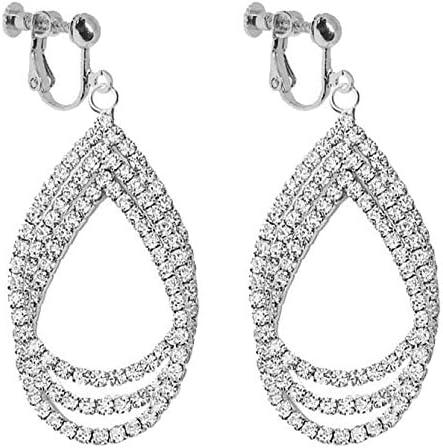 Twisted Leaf Clip on Dangle Earrings for Women Girls Chandelier Teardrop Layered Drop Boho Tassel Fashion