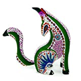 White Howling Coyote Handcrafted Oaxacan Alebrije Wood Carving Mexican Folk Art Sculpture Painting