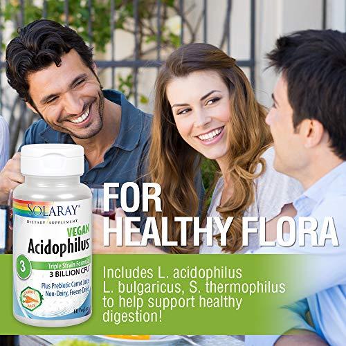 Solaray Acidophilus 3 Strain Probiotic & Prebiotic Carrot Juice   3 Billion CFU, Vegan & Freeze Dried   60 VegCaps