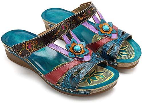 ONEYMM Sandalias Cuero Planas Verano Mujer Estilo Bohemia Zapatos para Mujer de Dedo Sandalias Talla Grande Cuñas de Corte Bajo Hechas a Mano Sandalias Antideslizantes Zapatillas,Color,37