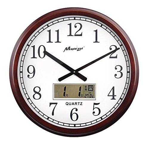 YL Uhr Wohnzimmer stille Wanduhr Holzrahmen Glasspiegel Sweeping Bewegung europäischen Stil Kastanien Farbe 2 AA Kohle-Batterien 20 Zoll (55 * 55cm) Precision