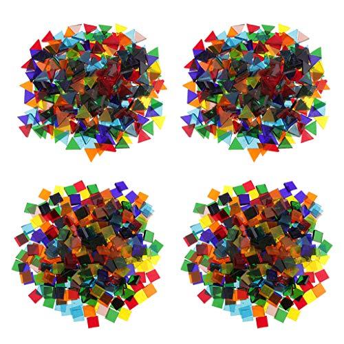 oshhni 640g Surtido de Azulejos de Mosaico de Vidrio Cuadrado Triangular Piezas Artesanías