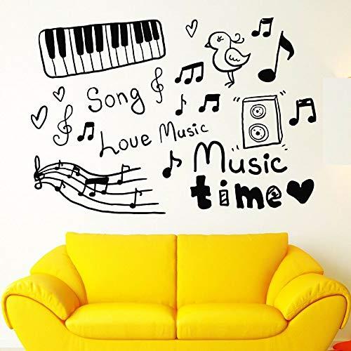 Etiqueta de la pared arte nota musical etiqueta de la pared vinilo instrumento musical amor canción música tiempo decoración   Adecuado para niños, niñas, dormitorio, jardín de infantes, fiesta, boda
