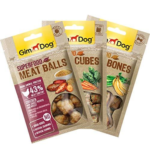 GimDog Superfood Meat Snacks Mixpack, mono-eiwit hondensnack met kippenvlees, lekkernij zonder suikeradditief, 1x180 g mixpack (1 x balls, 1 x cubes, 1 x bones)