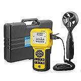 Anemómetro digital de mano, retroiluminación LCD digital Medidor de velocidad del viento con retroiluminación Funciones máx. / Mín. / Retención de datos / promedio para meteorología, windsurf, vuelo