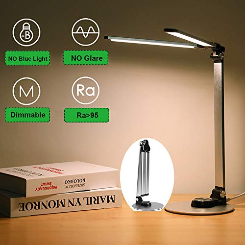 lampe de bureau led Lampe de Table lumière de bureau Dimmable pour Lecture,Travail,étudier (argent 10W)