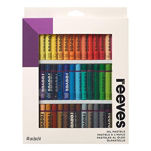 Reeves 4892713 Ölpastelle Set, 48 Pastelle - 48 Farben, Qualität Pigmente, lichtecht und leicht mischbar