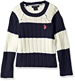 U.S. Polo Assn. Girls' Little Striped Raglan Sleeve Drop Needle Cropped Sweater, Classic Navy, 5/6