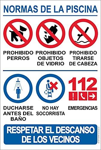 Strapazierfähiges PVC-Schild – Pool-Normen – Warnschild – ideal zum Aufhängen und Warnen (Sprache: Spanisch)