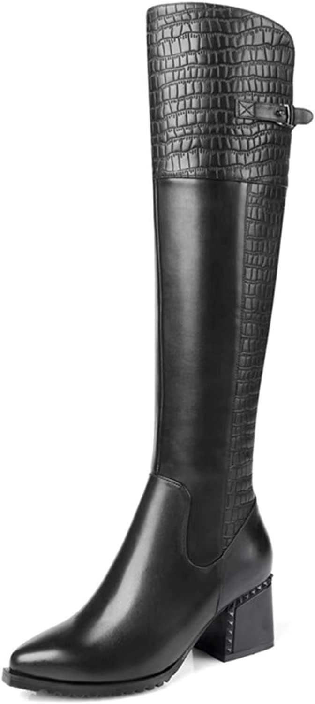 VIMISAOI Women's Genuine Leather Chunky Heel Pointed Toe Buckle Strap Zipper Fashion Knee Boots