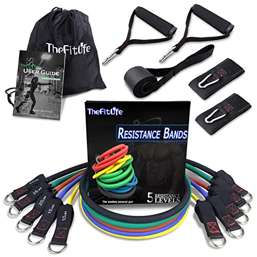 TheFitLife Exercise Resistance Bands with Handles - 5 Fitness Workout Bands Stackable up to 110 lbs, Training Tubes with Large Handles, Ankle Straps, Door Anchor Attachment, Carry Bag and Bonus eBook by TheFitLife