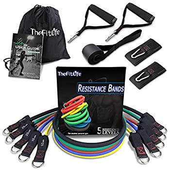 TheFitLife Exercise Resistance Bands with Handles - 5 Fitness Workout Bands Stackable up to 110 lbs Training Tubes with Large Handles Ankle Straps Door Anchor Attachment Carry Bag
