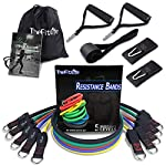 TheFitLife Exercise Resistance Bands with Handles – 5 Fitness Workout Bands Stackable up to 110 – 150 lbs, Training Tubes with Large Handles, Ankle Straps, Door Anchor Attachment, Carry Bag