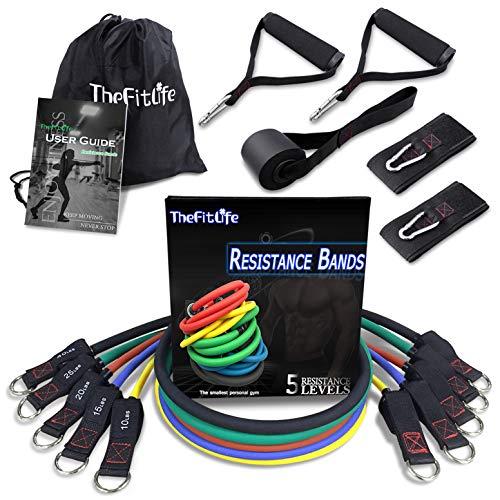 TheFitLife Set di Fasce per Esercizi e Resistenza - Elastici per Allenamento per Sport Indoor e Outdoor, Fitness, Sospensioni, Resistenza, velocità, Yoga