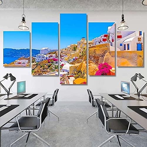 Juego de 5 Cuadros para el Dormitorio Sala de Estar Baño Pueblo de la Isla de Santorini en Grecia Lienzos Decorativos,Sin Marco 40x100cmx1pcs, 40x80cmx2pcs,40x60cmx2pcs