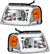 OEDRO Headlight Assembly Compatible with 2004-2008 Ford F150 Headlights Chrome Housing Headlamps w/ LED DRL Amber Reflector Clear Lens