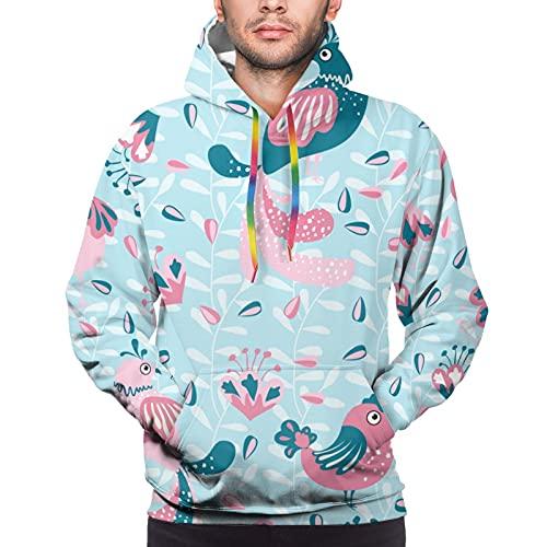 エスニックフォークスタイルのリーフと鳥ユニセックス3DノベルティパーカープルオーバースウェットシャツポケットクリスマスM