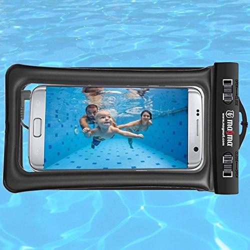 Magma®. Funda sumergible universal para móvil. Bolsa impermeable para teléfonos hasta 6,2 pulgadas. Estanca IPX8 . iPhone 7 / 7plus / 6 plus , Galaxy S8 / S8+/ S7 / S7 Edge, S6… Permite fotos y videos bajo el agua. Flotante, con brazalete y conexión de auriculares