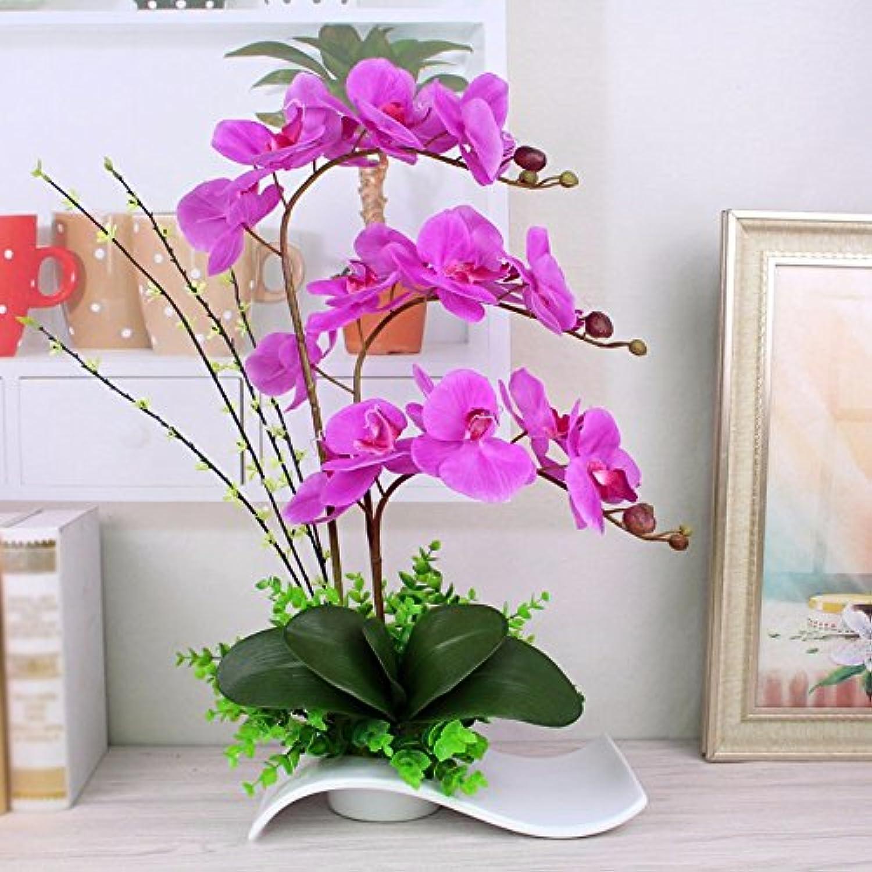 bajo precio USDFJN Artificial Phalaenopsis Fake Decoración Decoración Decoración Jarrón Púrpura  distribución global
