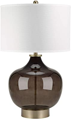 """Catalina Lighting 20909-001 Transitional Smoke Luster Glass and Metal Table Lamp with Antique Brass Accents, Linen Shade and 3-Way Switch, Bulb Included 30"""", Gray"""